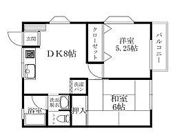 JR東海道本線 湯河原駅 徒歩4分の賃貸アパート 2階2DKの間取り
