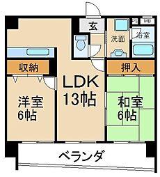 サンクラスタ 5階2LDKの間取り