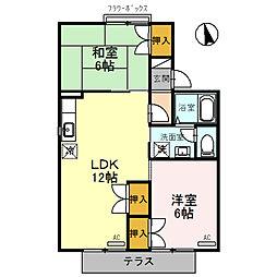 富山県富山市堀川町の賃貸アパートの間取り