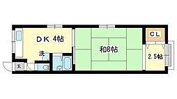 兵庫県神戸市長田区房王寺町6丁目の賃貸アパートの間取り