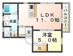 兵庫県尼崎市潮江2丁目の賃貸アパートの間取り