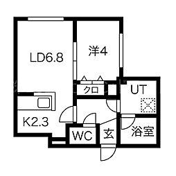 Chambre宮の沢 2階1LDKの間取り