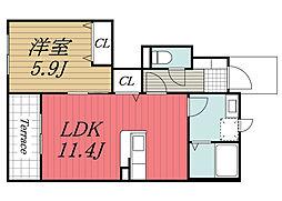 JR内房線 五井駅 バス6分 飛天坂下車 徒歩9分の賃貸アパート 1階1LDKの間取り
