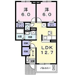 JR中央本線 下諏訪駅 バス6分 出早口下車 徒歩9分の賃貸アパート 1階2LDKの間取り