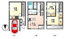 [テラスハウス] 愛知県名古屋市中区正木1丁目 の賃貸【/】の間取り