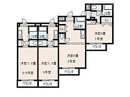 JR片町線(学研都市線) 忍ヶ丘駅 徒歩3分の賃貸マンション 2階1Kの間取り