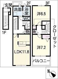 [タウンハウス] 愛知県春日井市前並町1丁目 の賃貸【/】の間取り