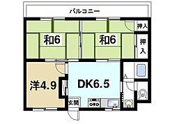 伏見ハイツ[2階]の間取り
