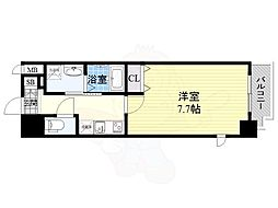 Osaka Metro谷町線 南森町駅 徒歩7分の賃貸マンション 4階1Kの間取り