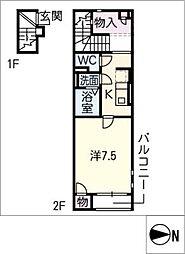 クレイノAngel[2階]の間取り