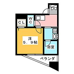 ディアレイシャス新栄 10階1Kの間取り