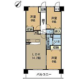 新潟県新潟市中央区神道寺1丁目の賃貸マンションの間取り