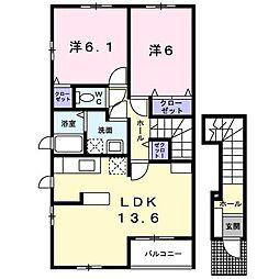 サンライト・カワサキA[2階]の間取り