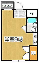 ツインナガセ[2B号室]の間取り