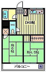 須賀ハイツ[202号室]の間取り