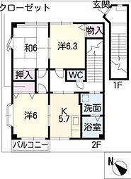 ハイステージ平澤[2階]の間取り