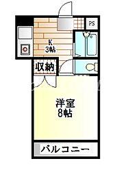 徳島県徳島市昭和町8丁目の賃貸マンションの間取り