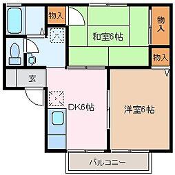 三重県四日市市伊倉1丁目の賃貸アパートの間取り