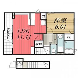 JR総武本線 八街駅 徒歩11分の賃貸アパート 2階1LDKの間取り