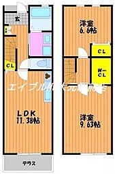 [テラスハウス] 岡山県岡山市北区津高丁目なし の賃貸【/】の間取り