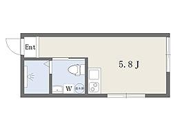 フェリーチェ駒沢大学 3階ワンルームの間取り