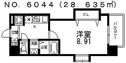 JR大阪環状線 芦原橋駅 徒歩3分の賃貸マンション 13階1Kの間取り