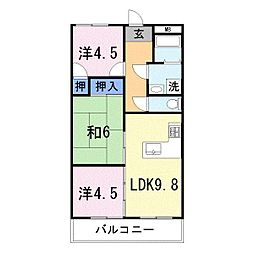 兵庫県姫路市亀山1丁目の賃貸マンションの間取り