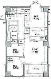 東京メトロ日比谷線 広尾駅 徒歩6分の賃貸マンション 2階3LDKの間取り