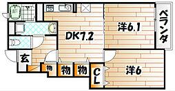 エステート桜II[102号室]の間取り