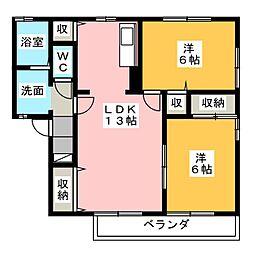 メープル上野[1階]の間取り