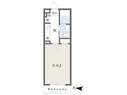 西武新宿線 鷺ノ宮駅 徒歩4分の賃貸マンション 3階1Kの間取り