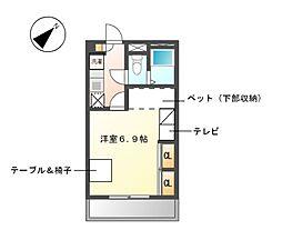 愛知県名古屋市緑区桶狭間清水山の賃貸アパートの間取り