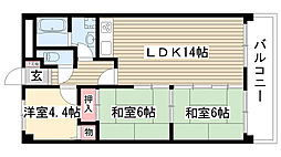 愛知県名古屋市名東区よもぎ台3丁目の賃貸マンションの間取り