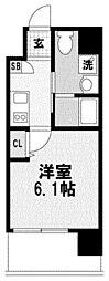 ライブカーサ上新庄 6階1Kの間取り
