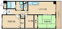 大阪府東大阪市稲葉2丁目の賃貸マンションの間取り