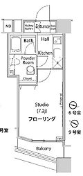 JR山手線 新宿駅 徒歩8分の賃貸マンション 20階1Kの間取り