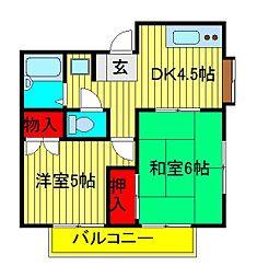 ドフィーヌときわ平4[2階]の間取り