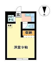 愛知県名古屋市中区松原1丁目の賃貸アパートの間取り