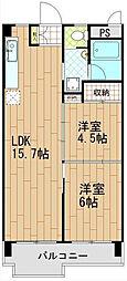 日香苑[305号室]の間取り