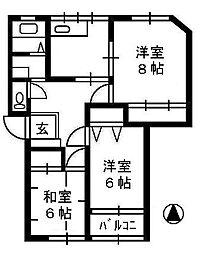 第5コーポユーカリ[1階]の間取り