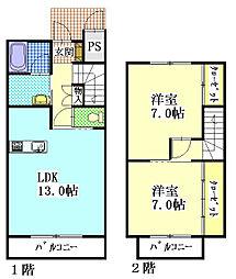 [タウンハウス] 静岡県袋井市豊沢 の賃貸【/】の間取り