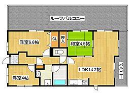 兵庫県神戸市垂水区五色山3丁目の賃貸マンションの間取り