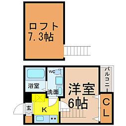愛知県名古屋市熱田区切戸町3丁目の賃貸アパートの間取り