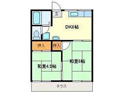 近鉄志摩線 中之郷駅 徒歩4分の賃貸アパート 1階2DKの間取り