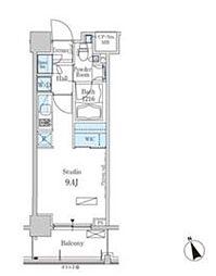 新交通ゆりかもめ 芝浦ふ頭駅 徒歩8分の賃貸マンション 6階ワンルームの間取り