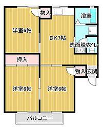ボンセジュール[2階]の間取り