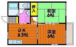 岡山県瀬戸内市長船町土師の賃貸アパートの間取り