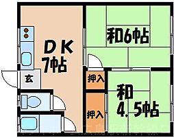 広島県広島市東区戸坂千足1丁目の賃貸アパートの間取り
