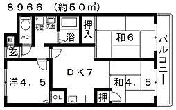 川辺マンション[206号室号室]の間取り