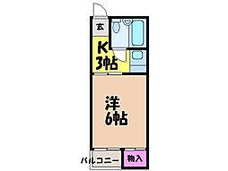 愛媛県松山市古川西3丁目の賃貸アパートの間取り
